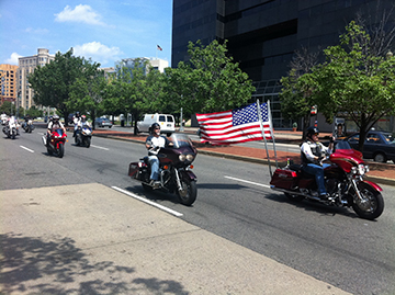 Motorcyclists riding to protect their rights.