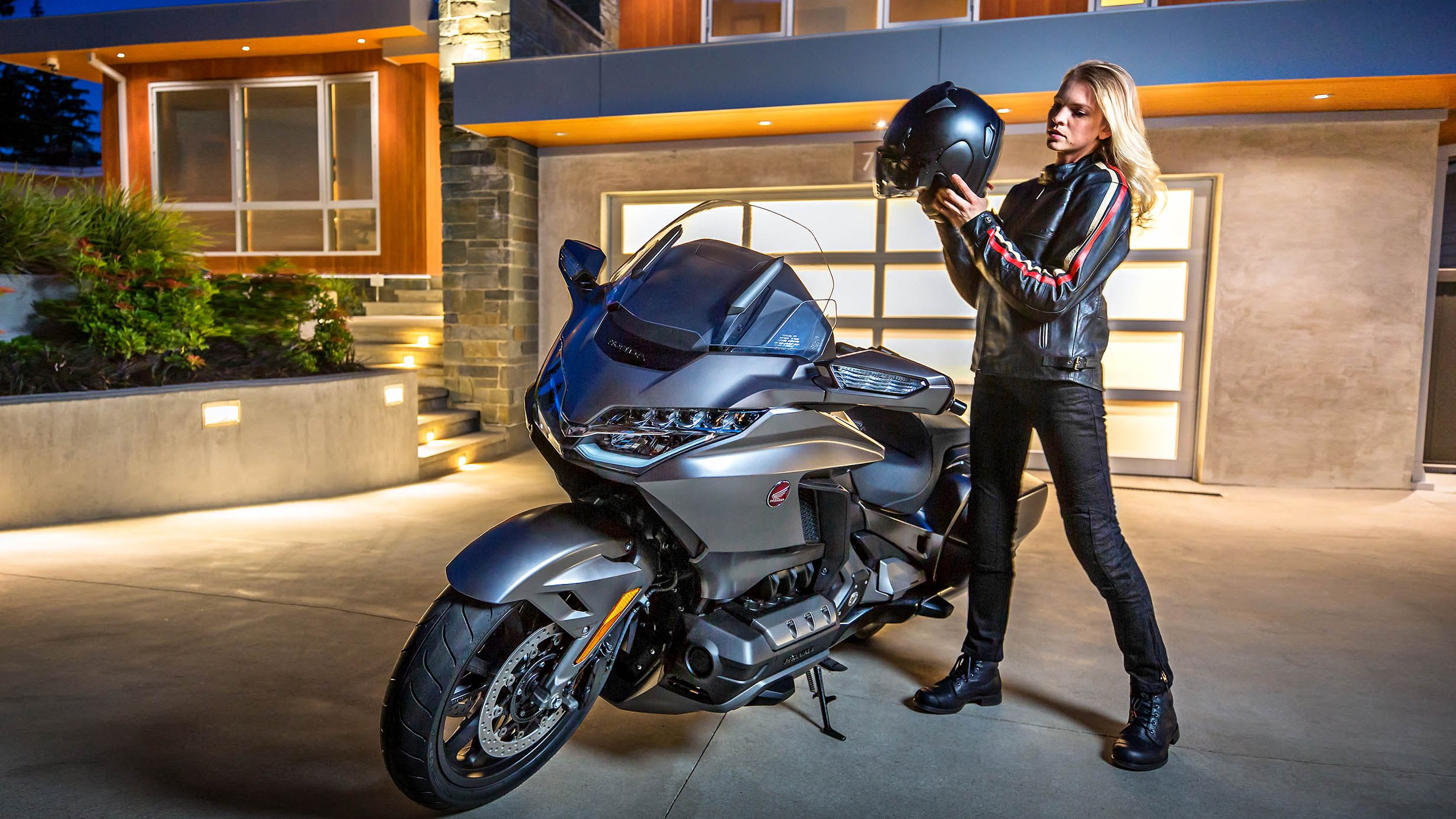 A woman rider with the 2018 Honda Gold Wing